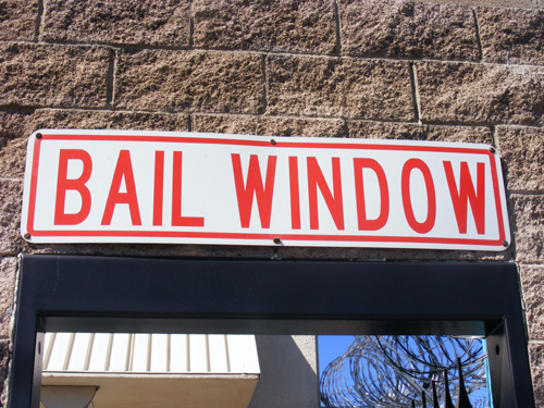 Bail Window Sign at the City Las Vegas Jail 3300 E. Stewart Las Vegas, NV