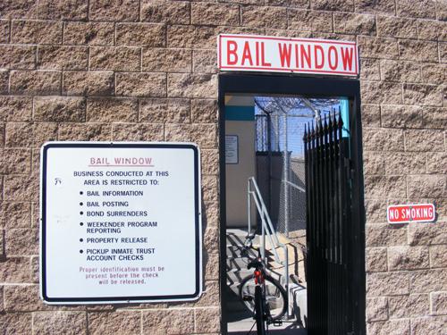 Bail window at the City Las Vegas Jail 3300 E. Stewart Las Vegas, NV